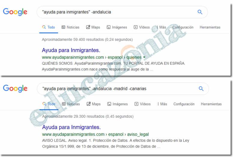 busquedas efectivas en google eliminando términos