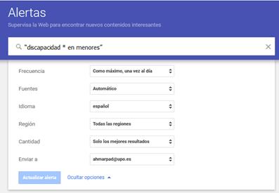 Modificando una alerta de google