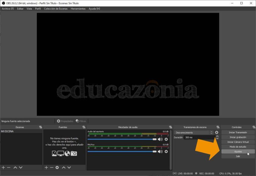 Acceso a Ajustes de OBS para grabar clases online
