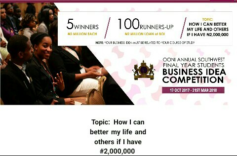 Ooni of Ife Annual Business Idea Competition for Southwest Final Year Students
