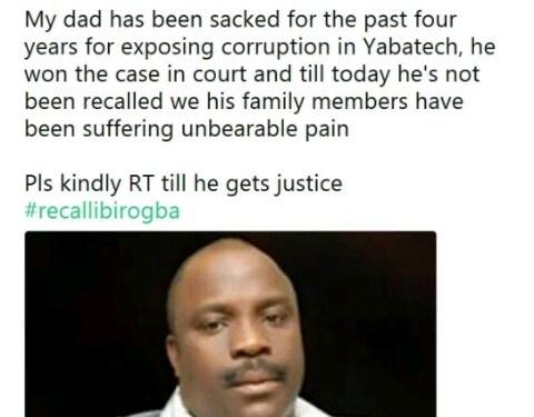 Son of former YABATECH Bursar sacked for exposing corruption cries for help