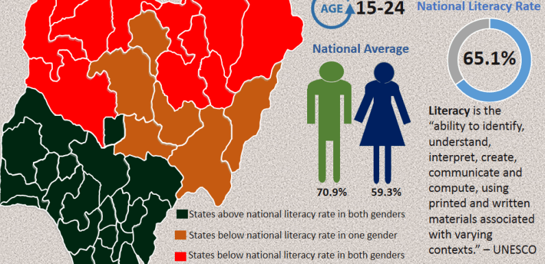 Young adult literacy rate in Nigeria (State by State)