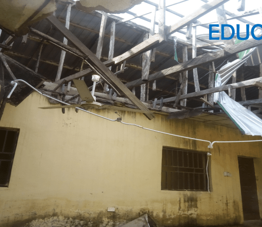 A dilapidated office within the administrative block of the Almajiri Model School, Dutsin-Ma