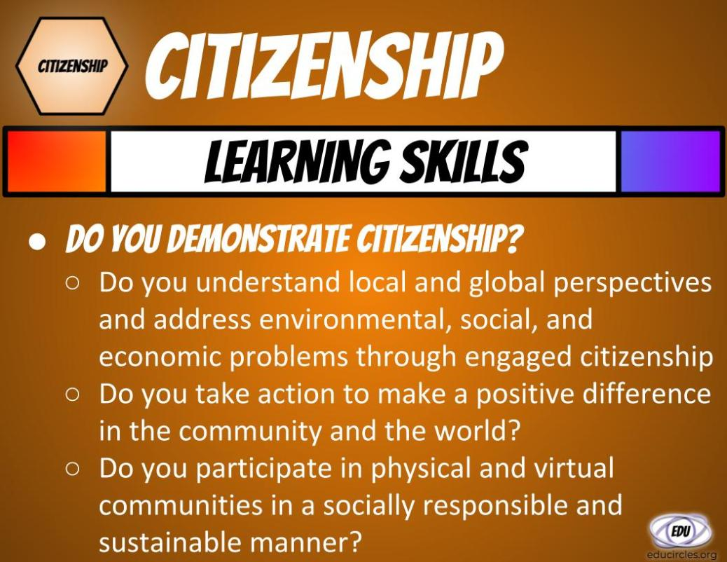 Slide showing 3 questions about citizenship transferable skills - do you demonstrate citizenship?