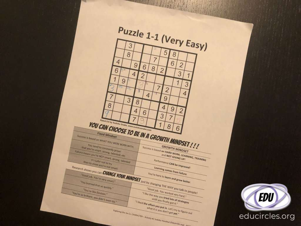 Photo of a Sudoku puzzle with Growth Mindset strategies at the bottom