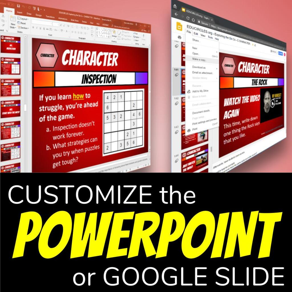 Customize the Powerpoint or Google Slide