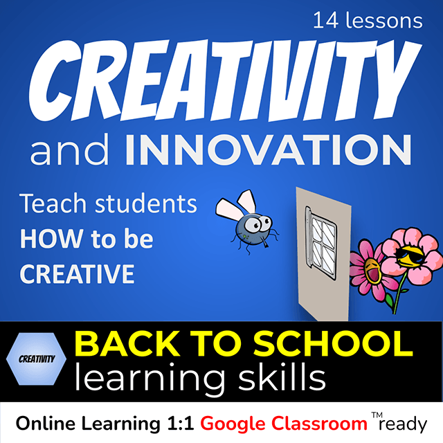14 Back to School Creativity and Innovation Lessons - teach students HOW to be creative. Growth Mindset 21st Century Skills - cover photo of a fly looking through a closed window at flowers on the outside.