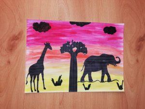Zwierzęta afrykańskie – praca plastyczna z wykorzystaniem farb akwarelowych.