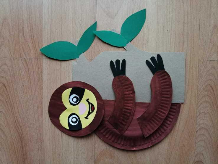 Leniwiec - praca plastyczna z wykorzystaniem talerzyka