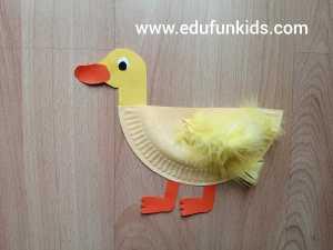 Kaczka - praca plastyczna z wykorzystaniem talerzyka papierowego