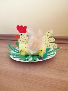 Kura z kurczakami - praca plastyczna z wykorzystaniem rolki