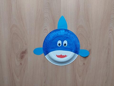 Rekin - praca plastyczna z wykorzystaniem talerzyka papierowego