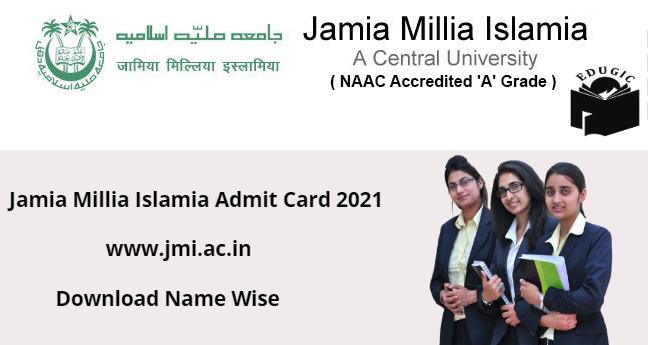 Jamia School Entrance Test Admit Card 2021