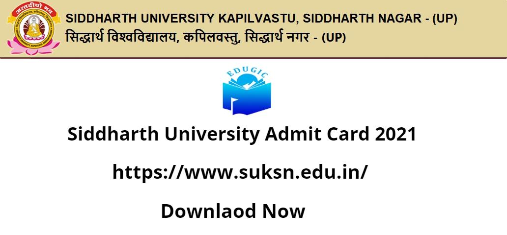 Siddharth University Admit card 2021
