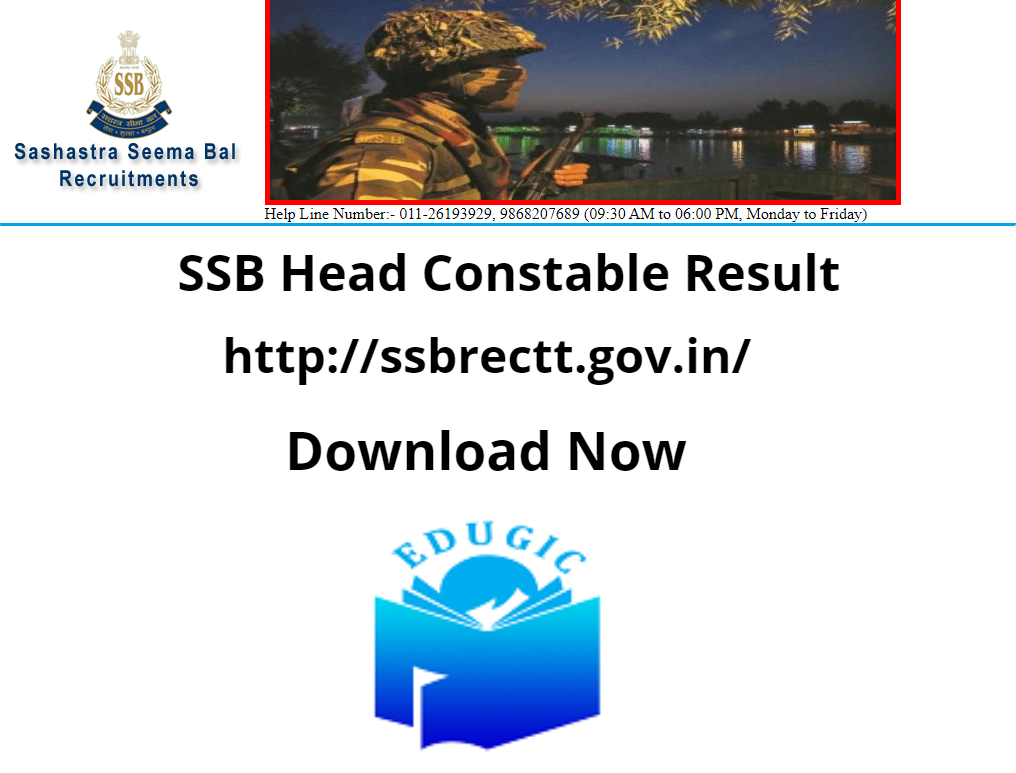 SSB Head Constable Result 2021