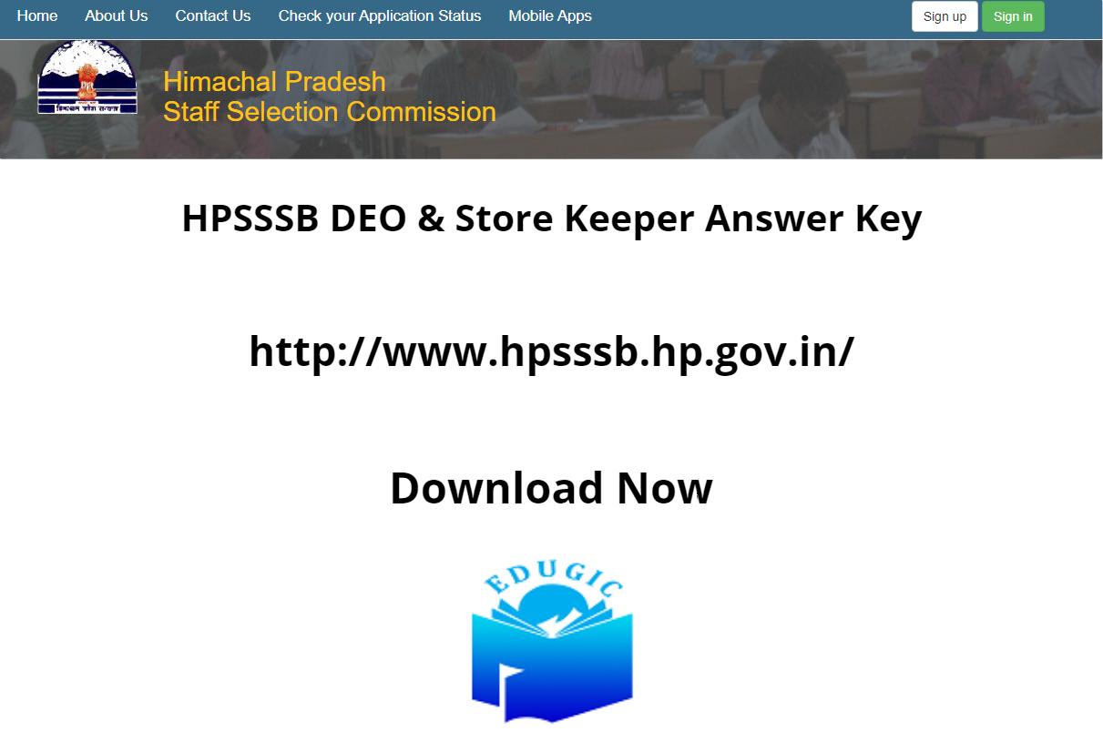 HPSSSB DEO & Store Keeper Answer Key 2021