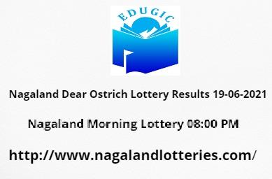 Nagaland Dear Ostrich Lottery Results 19-06-2021