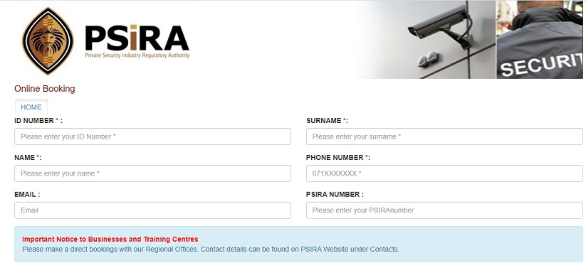 Psira Online Booking