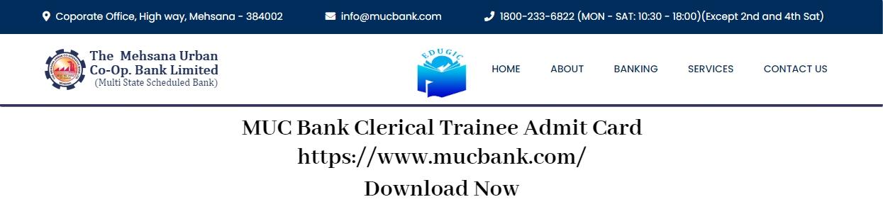 MUC Bank Clerical Trainee Admit Card