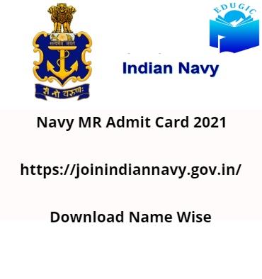Navy MR Admit Card 2021