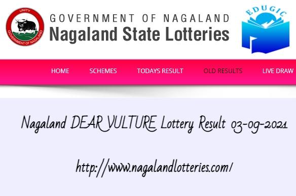 Nagaland DEAR VULTURE Lottery Result 03-09-2021