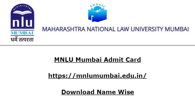 MNLU Mumbai Admit Card