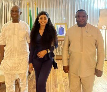 Regina Daniels And Husband, Ned Nwoko Meet Sierra Leone President (Photos)