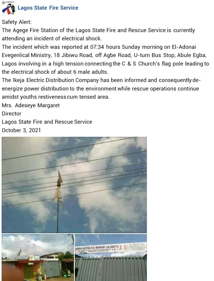 6 Worshippers Electrocuted As Church's Flag Pole Touches High-Tension Wire In Lagos