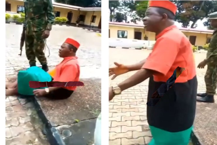 """Reactions As """"fearless"""" Actor Chiwetalu Agu Defends Himself Before Military Officers Over Biafra Regalia (Video)"""