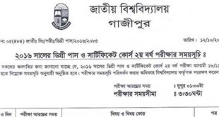 National University Nu Degree 2nd Year Exam Routine Download-Nu.edu.bd