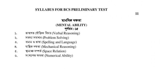 BCS Syllabus of Preliminary