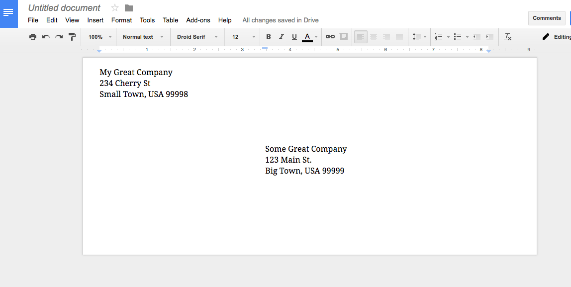 Printing envelopes from Google Docs