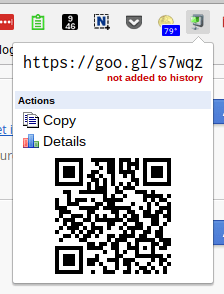 Google's url shortener, goo.gl has an extension and can also create QR codes