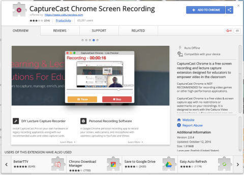 CaptureCast is another option for recording screencasts with Chrome