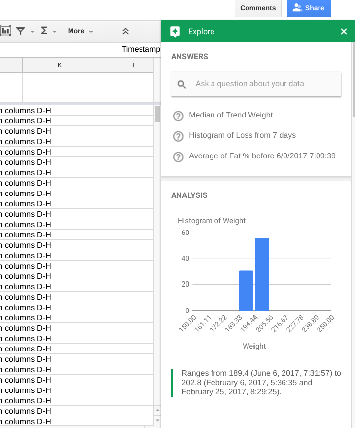 Google Sheets updates: machine learning charts and embedding information