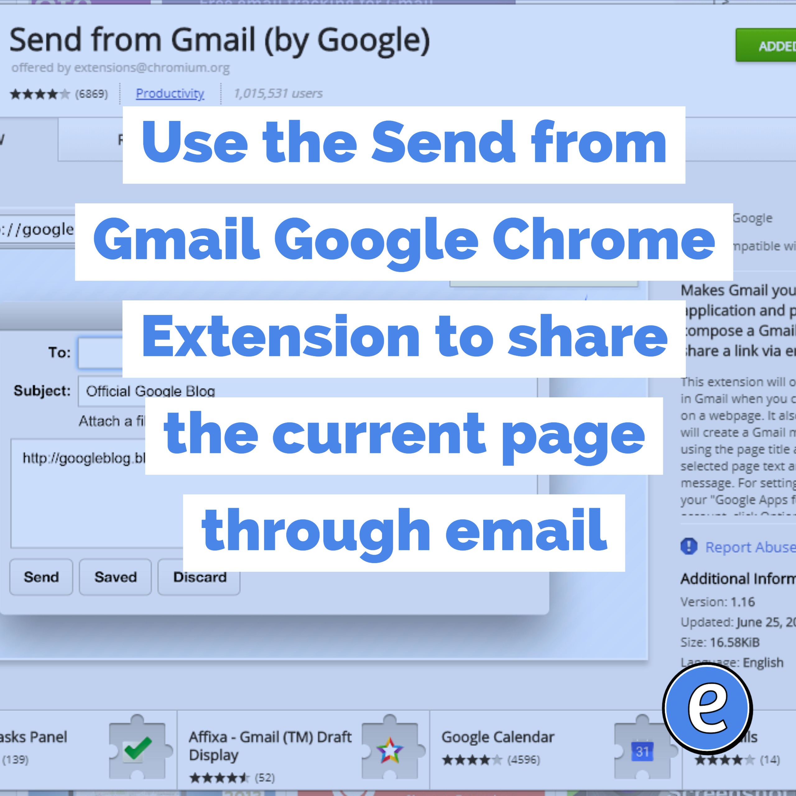 Use the Send from Gmail Google Chrome Extension to share the current page through email