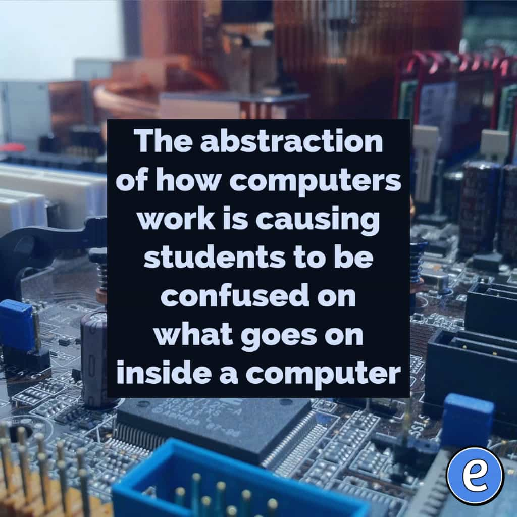 The abstraction of how computers work is causing students to be confused on what goes on inside a computer