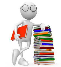 Cartoon person next to stack of books