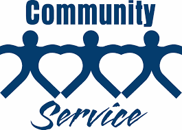 Community Service with people linking arms forming hearts in the negative space