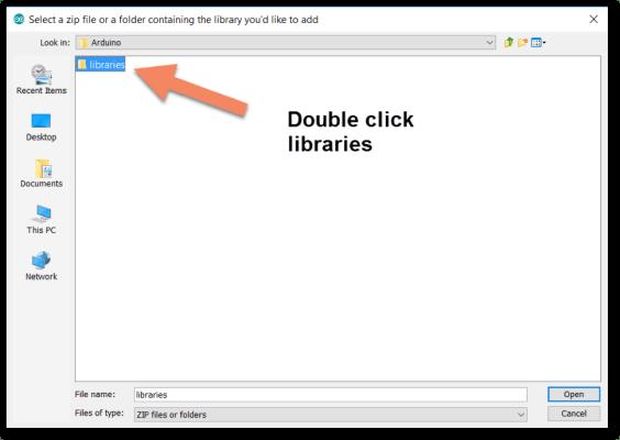 Open libraries folder
