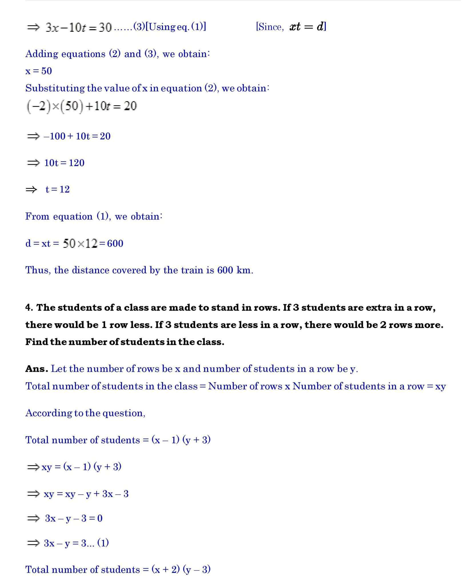 Linear Equations In Two Variables Class 10 Extra Questions