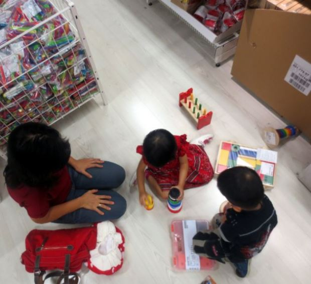 playing at the store