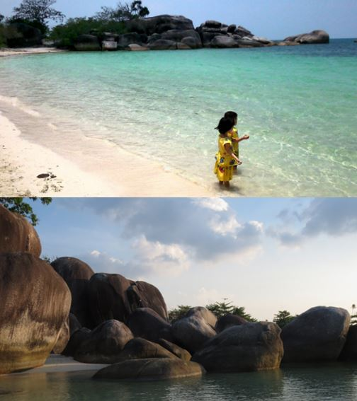 Two faces of Tanjung Tinggi Beach... the white sand and black granite.