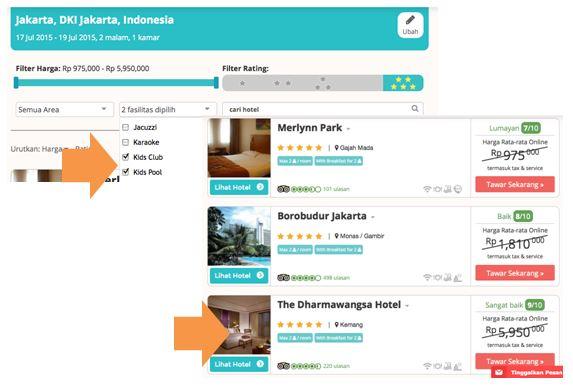 Pilih kriteria, dan tentukan target hotel.
