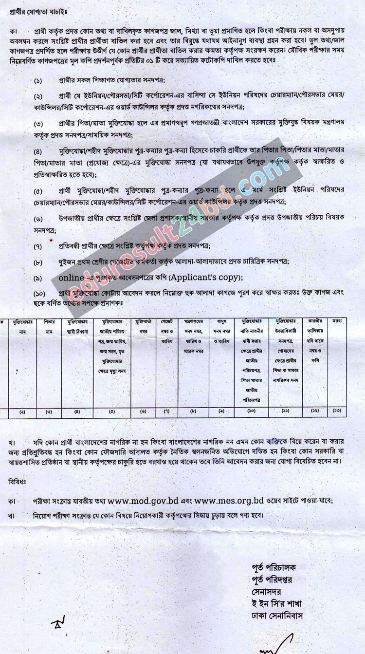 Military Engineer Service Job Circular 2016