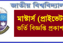 National University Masters Private Admission Notice 2021