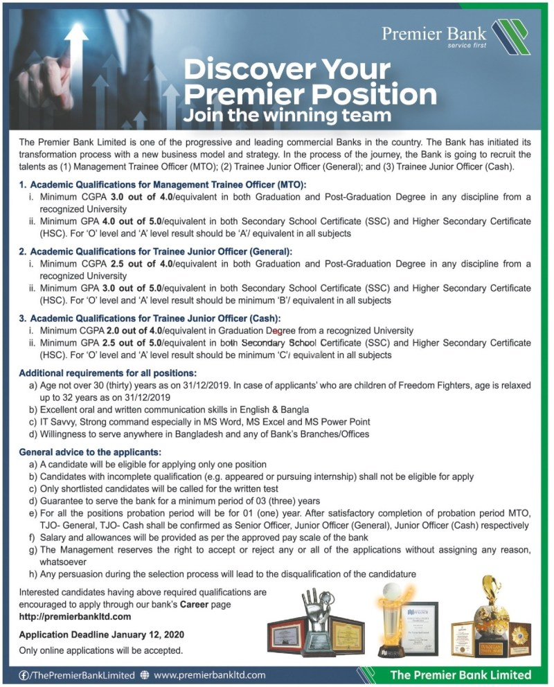 Premier Bank Junior Officer Job Circular 2020
