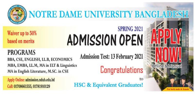Notre Dame University Admission Circular 2021
