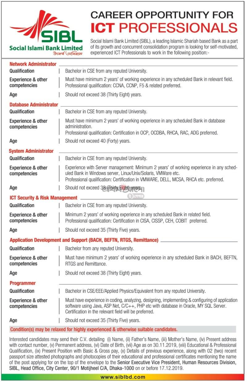 SIBL Job Circular 2019