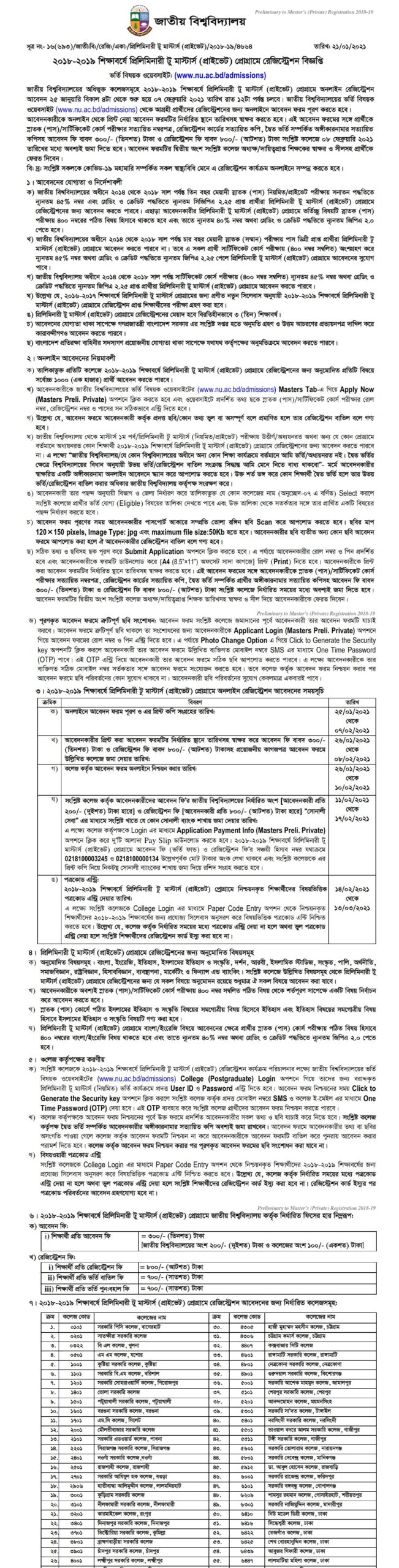 Masters Preliminary (private) Admission Circular 2021